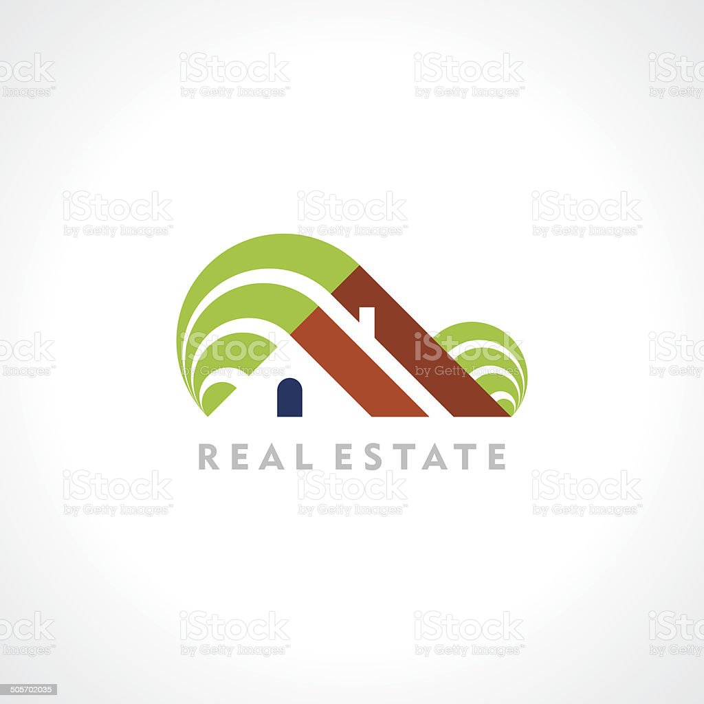 House abstract real estate countryside icon design template. vector art illustration