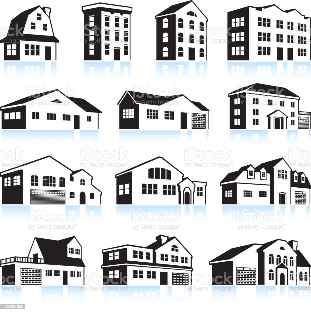 3d house and apartment black white vector icon set stock for Home designs com