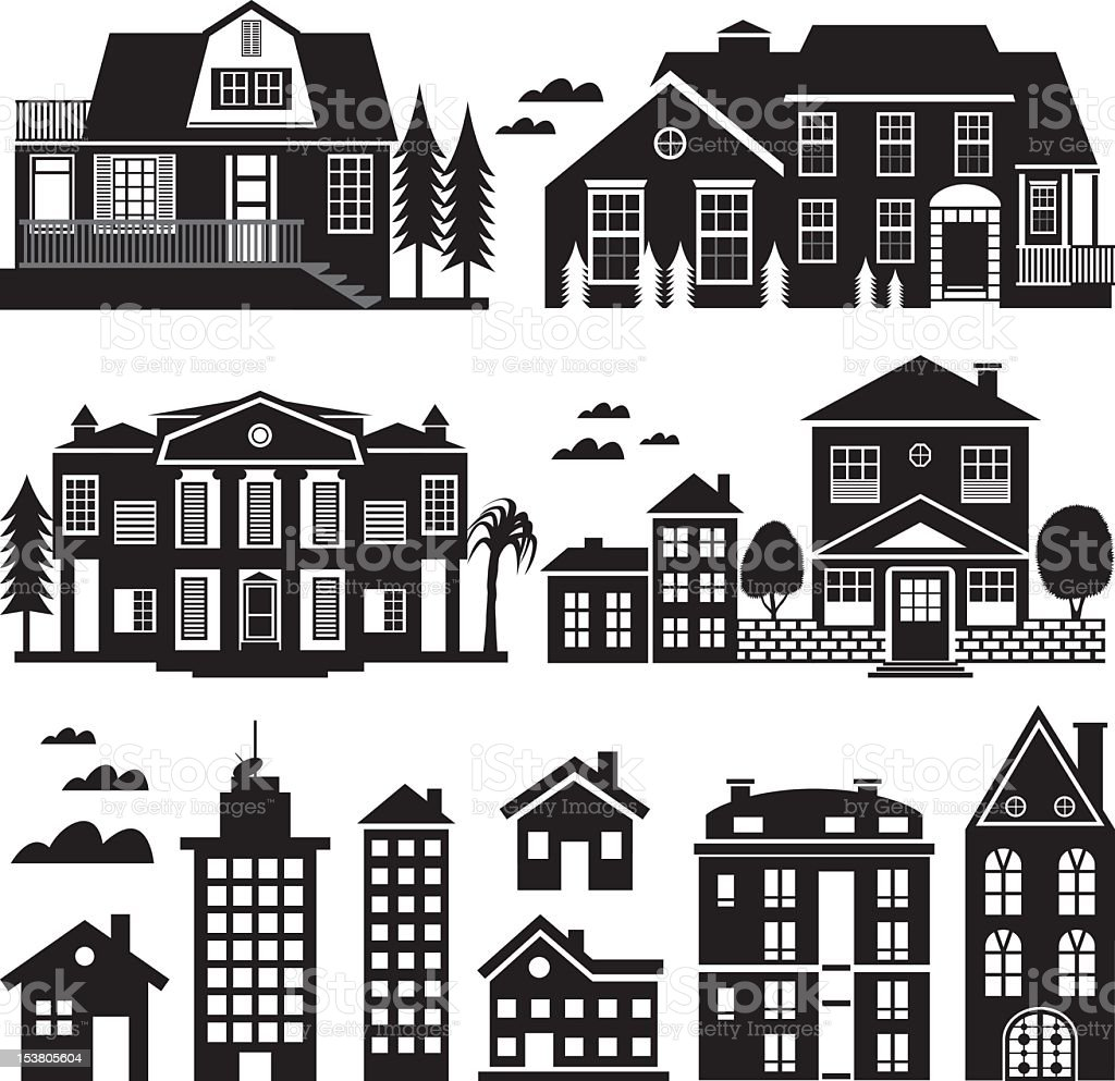 House and Apartment Building Silhouette, Icon Set vector art illustration