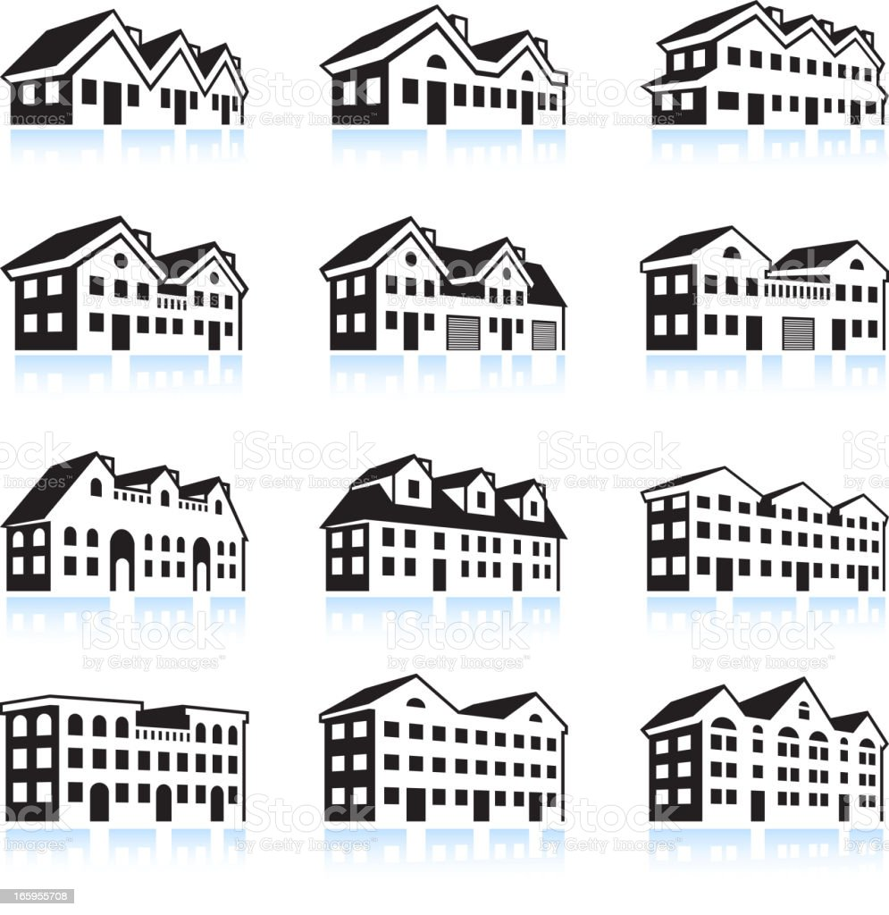 3D House and Apartment Complex black & white icon set royalty-free stock vector art