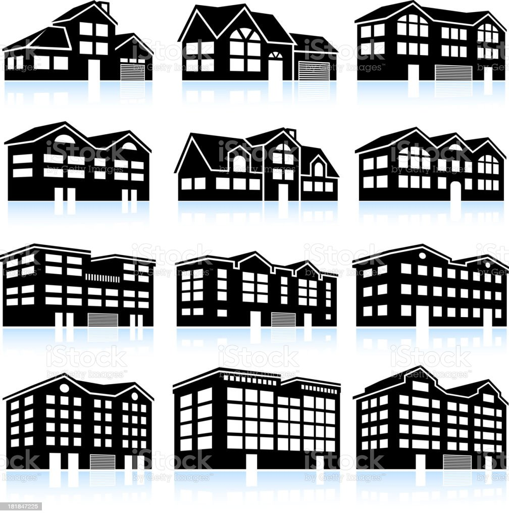 3D House and Apartment Complex black & white icon set vector art illustration