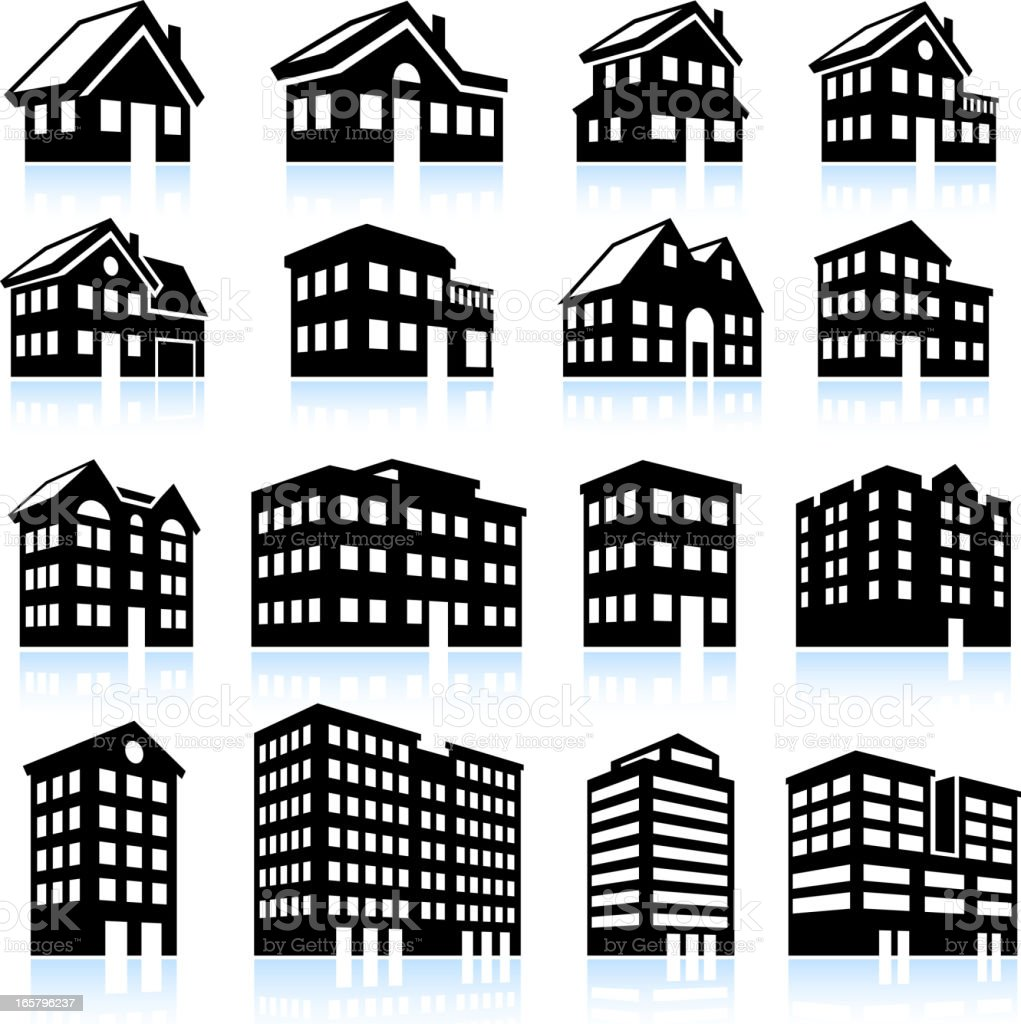 3D house and apartment icons black and white vector art illustration
