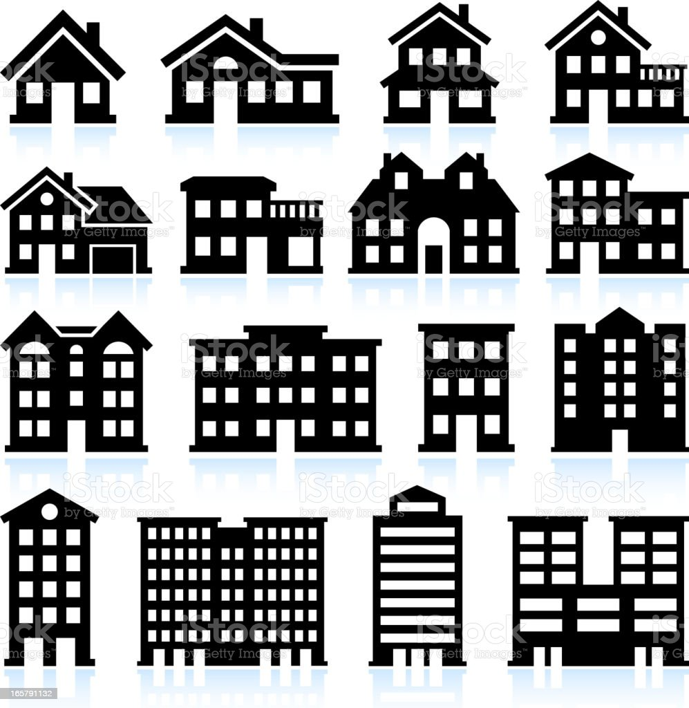 House and apartment icons on white background vector art illustration