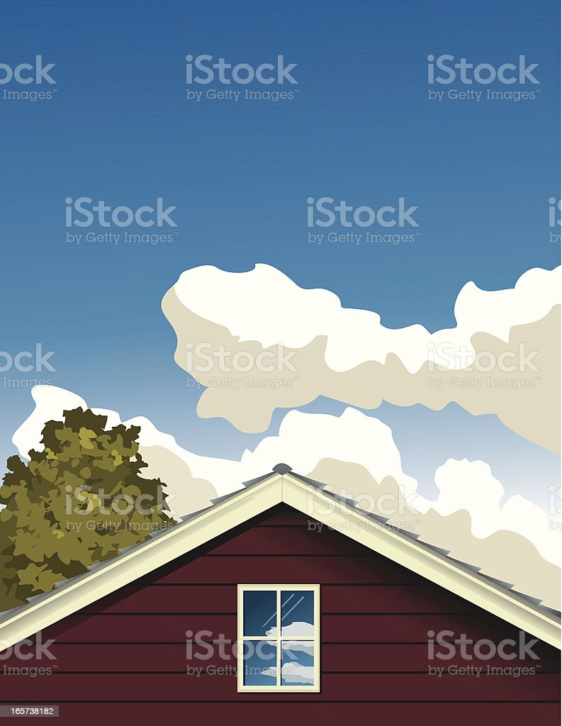 House and clouds with tree vector art illustration