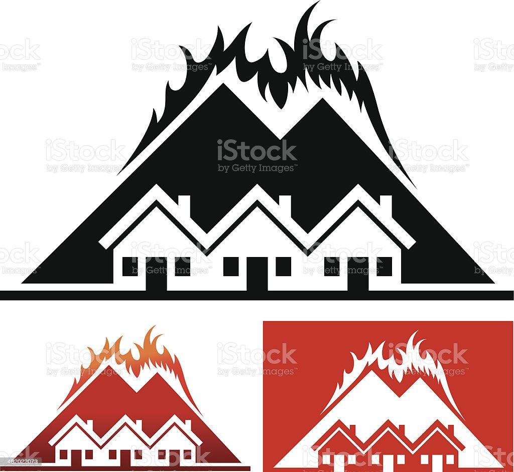 House and Community with Wild Fire royalty-free stock vector art