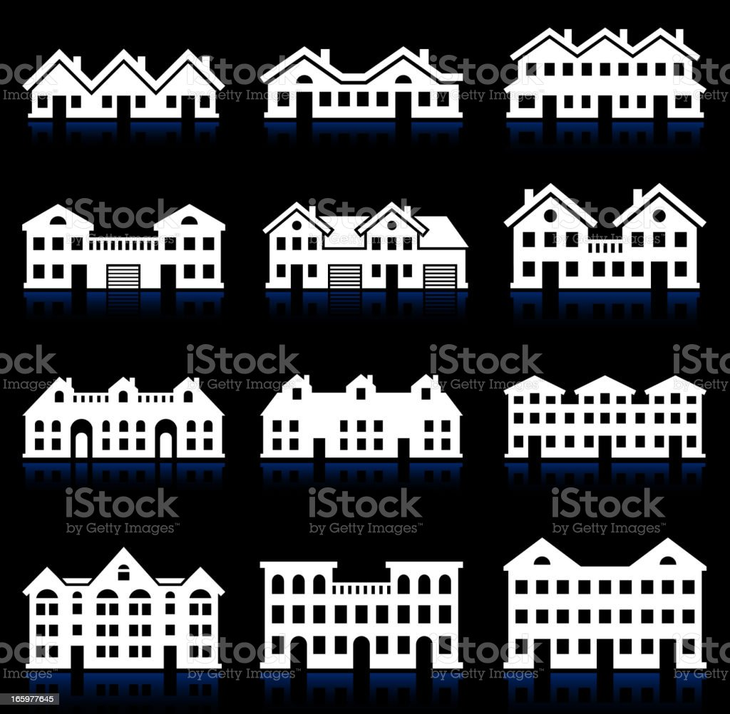 House and Condo Building black & white vector icon set vector art illustration