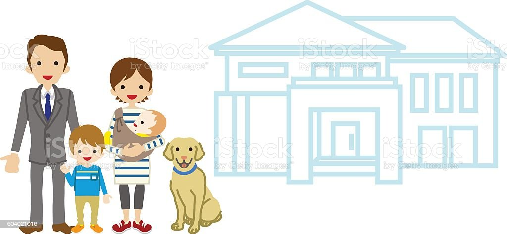 House and Family - Baby and Son vector art illustration