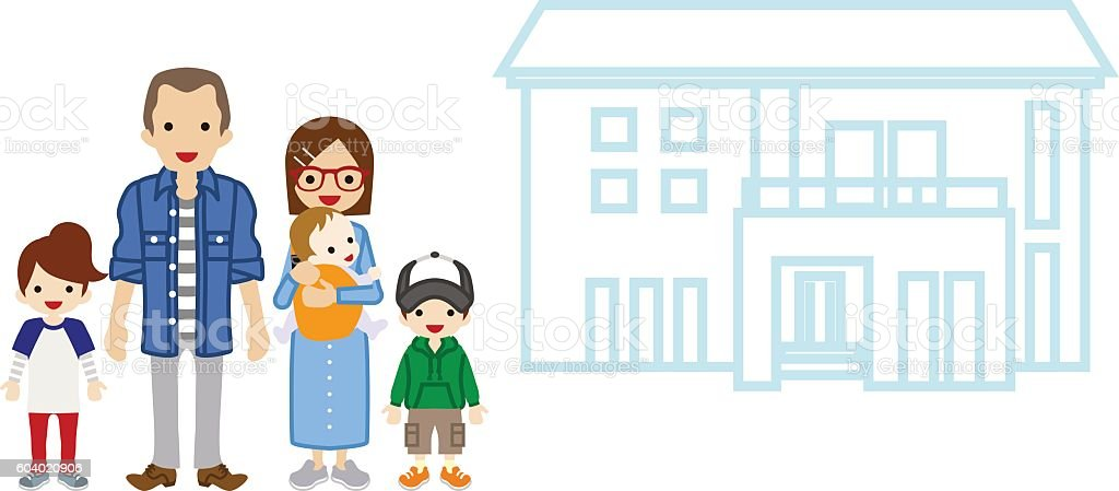 House and Family - Parents and Three Children vector art illustration