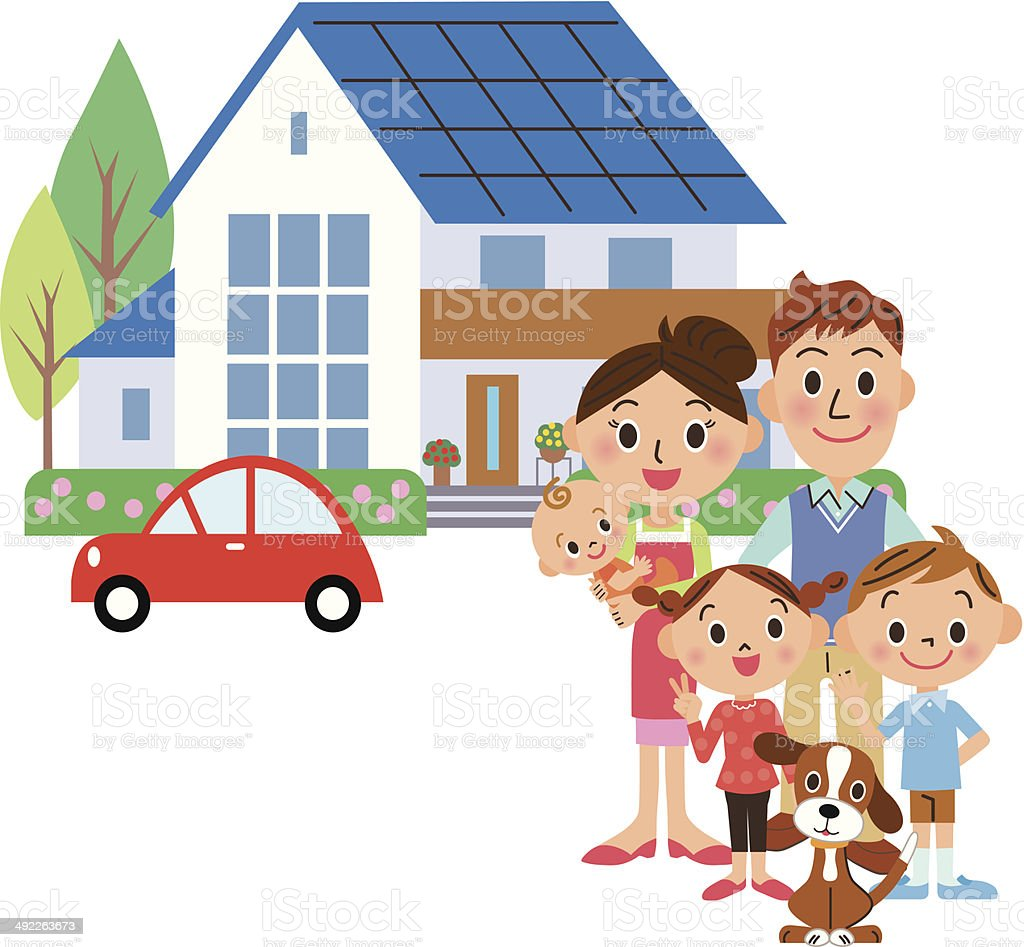 house and family vector art illustration