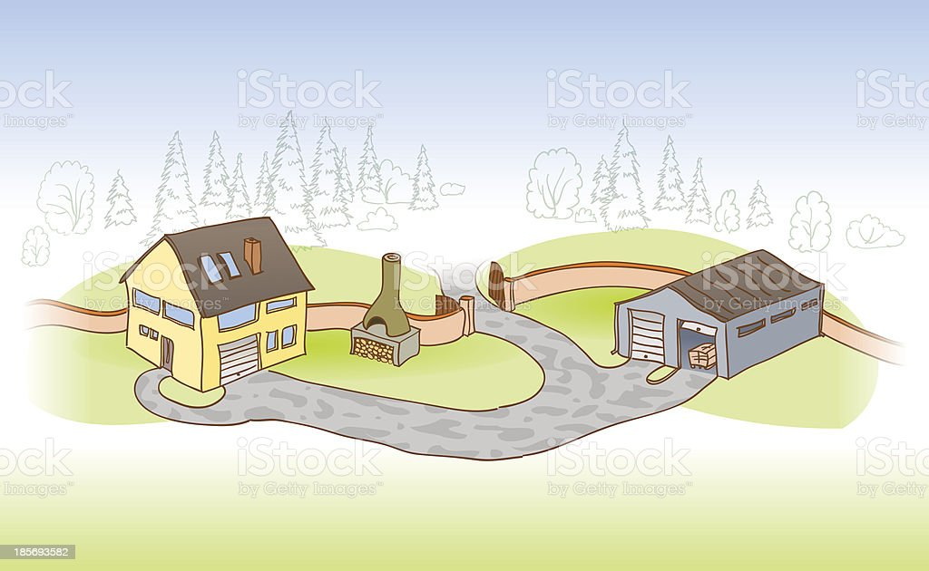 House and Garage vector art illustration