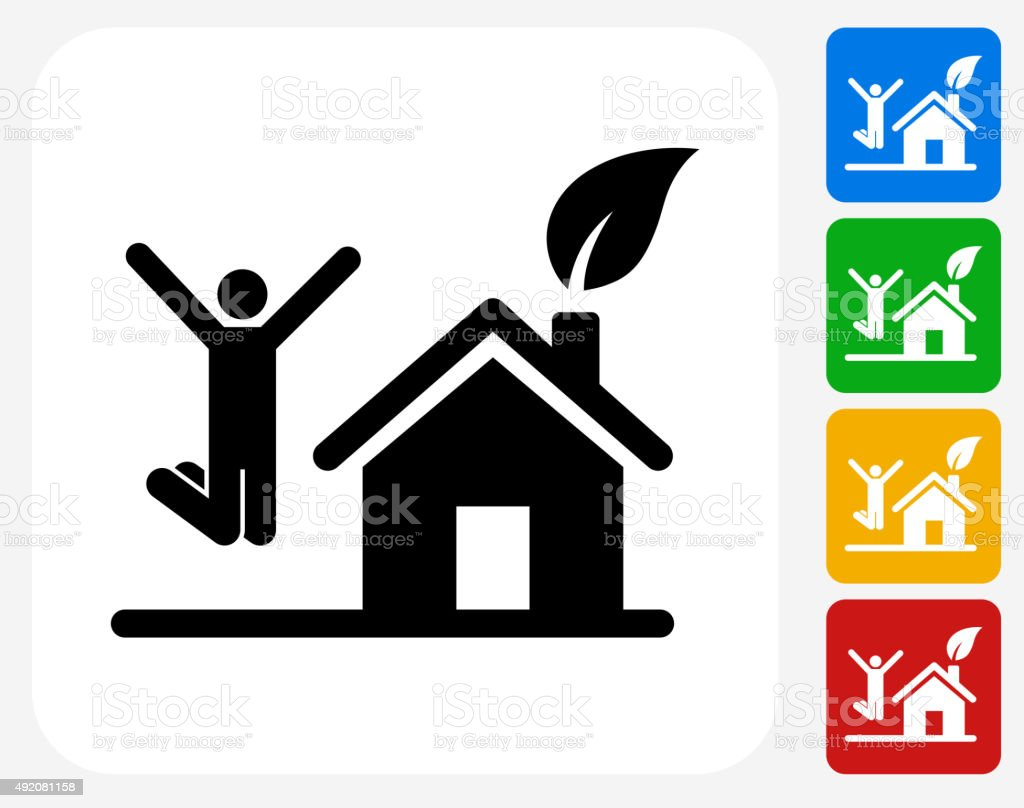 House and Happy Person Jumping Icon Flat Graphic Design vector art illustration