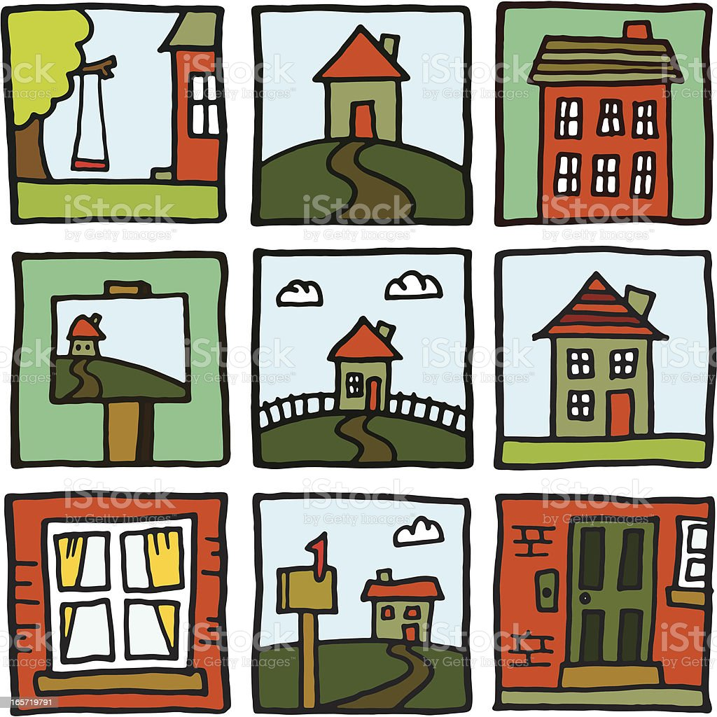 House and home prints vector art illustration