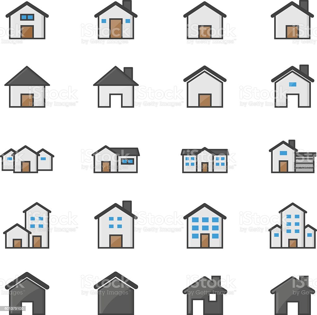 House and Home Set Of Building Color Icons vector art illustration