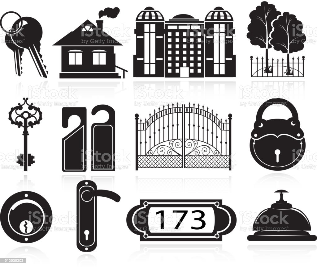 House and hotel icons vector art illustration