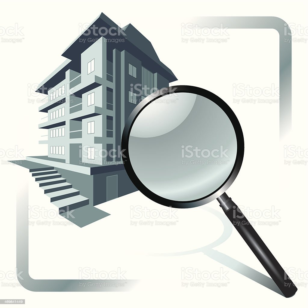 House and magnifying glass vector art illustration