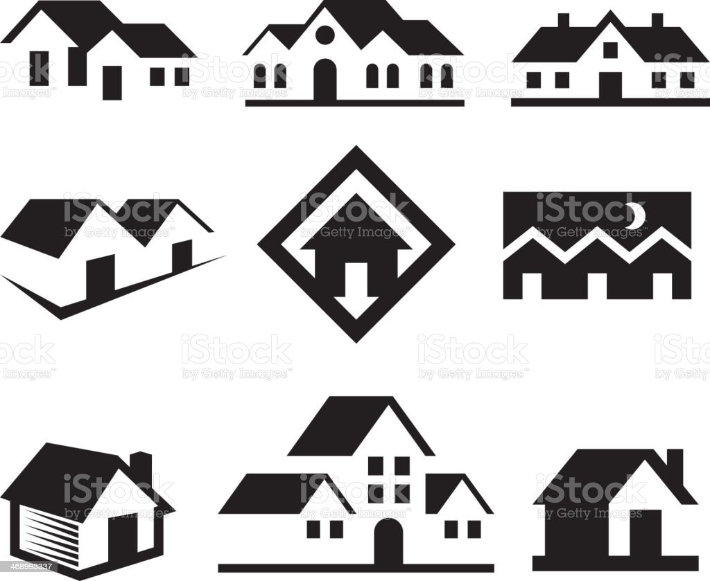 House and Real Estate Black & White royalty free-vector arts vector art illustration