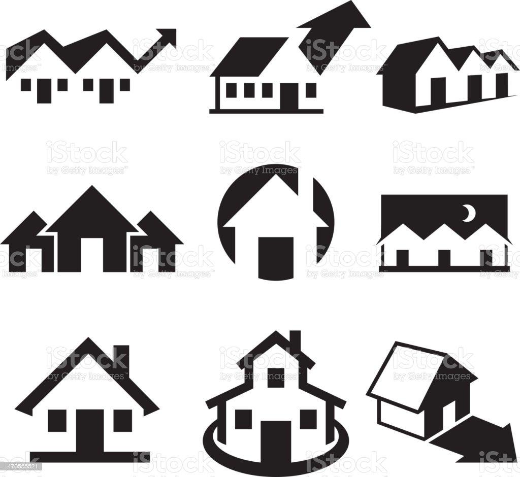 Haus clipart schwarz weiß  Haus Und Immobilien Schwarz Weiß Lizenzfreie Vektorkunst Vektor ...