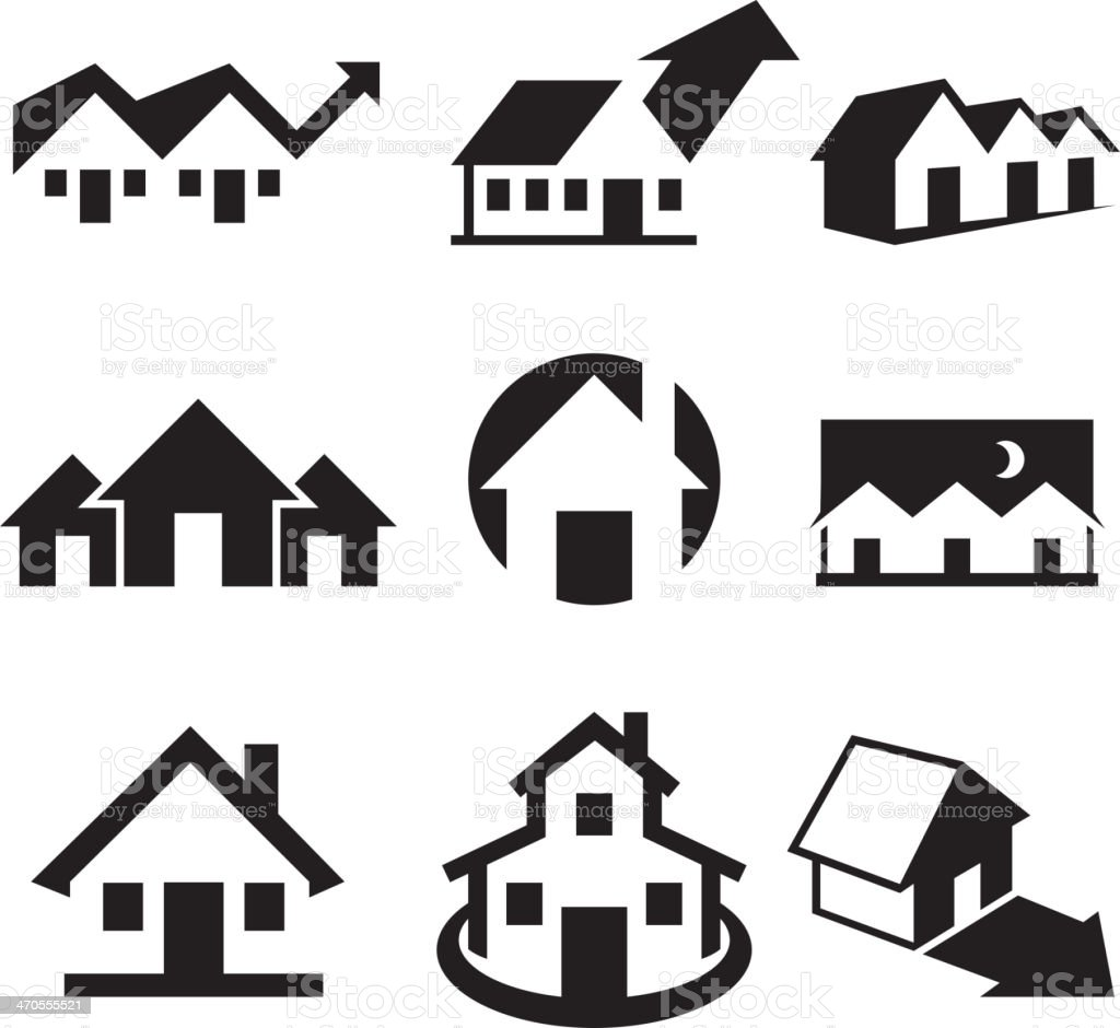 House and Real Estate Black & White royalty-free vector arts vector art illustration