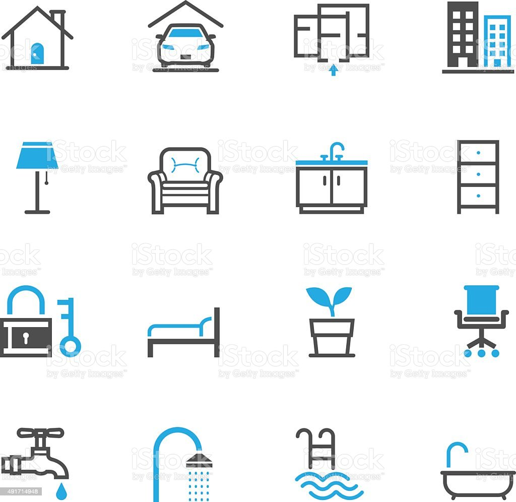 House and Real Estate Icons vector art illustration