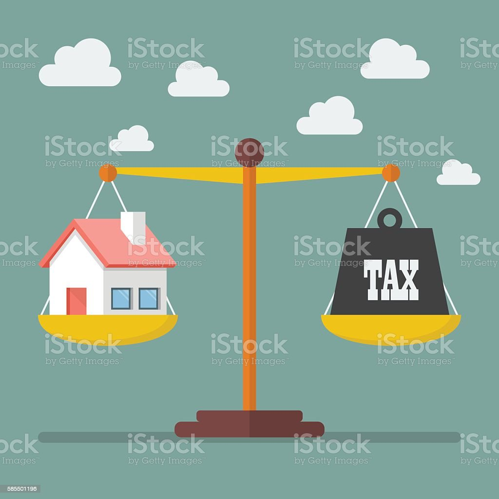 House and Tax balance on the scale vector art illustration