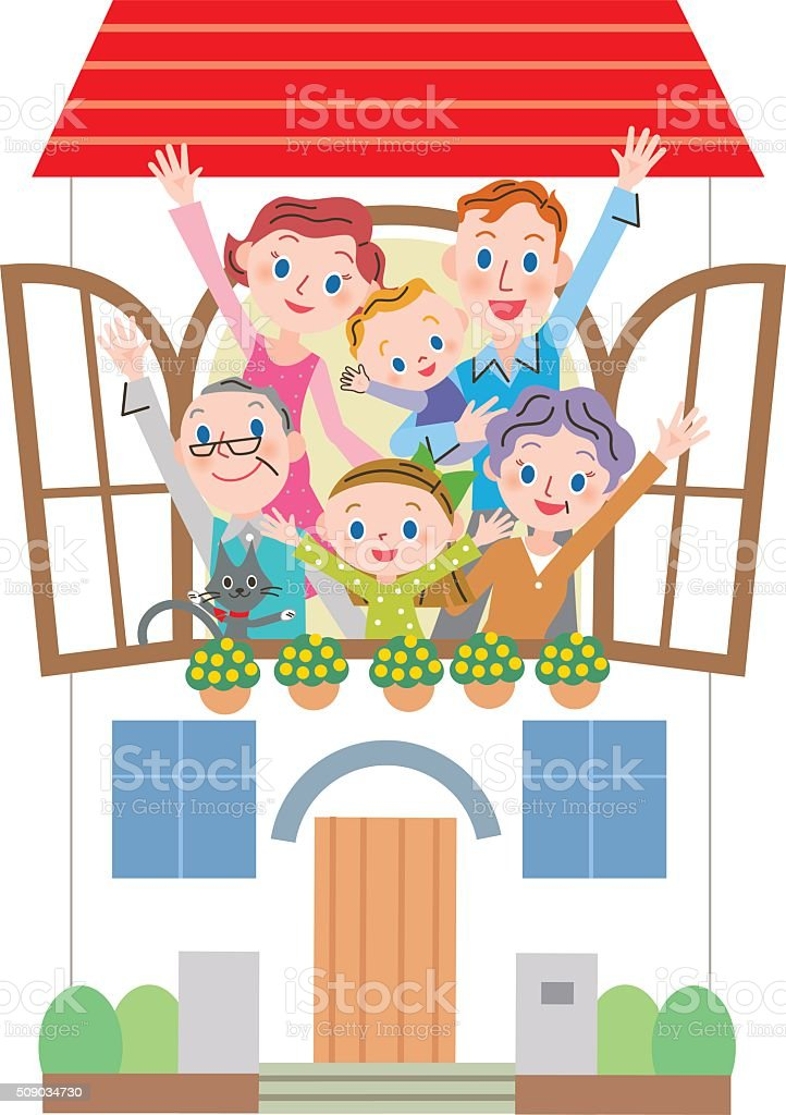 house and three-generation family vector art illustration