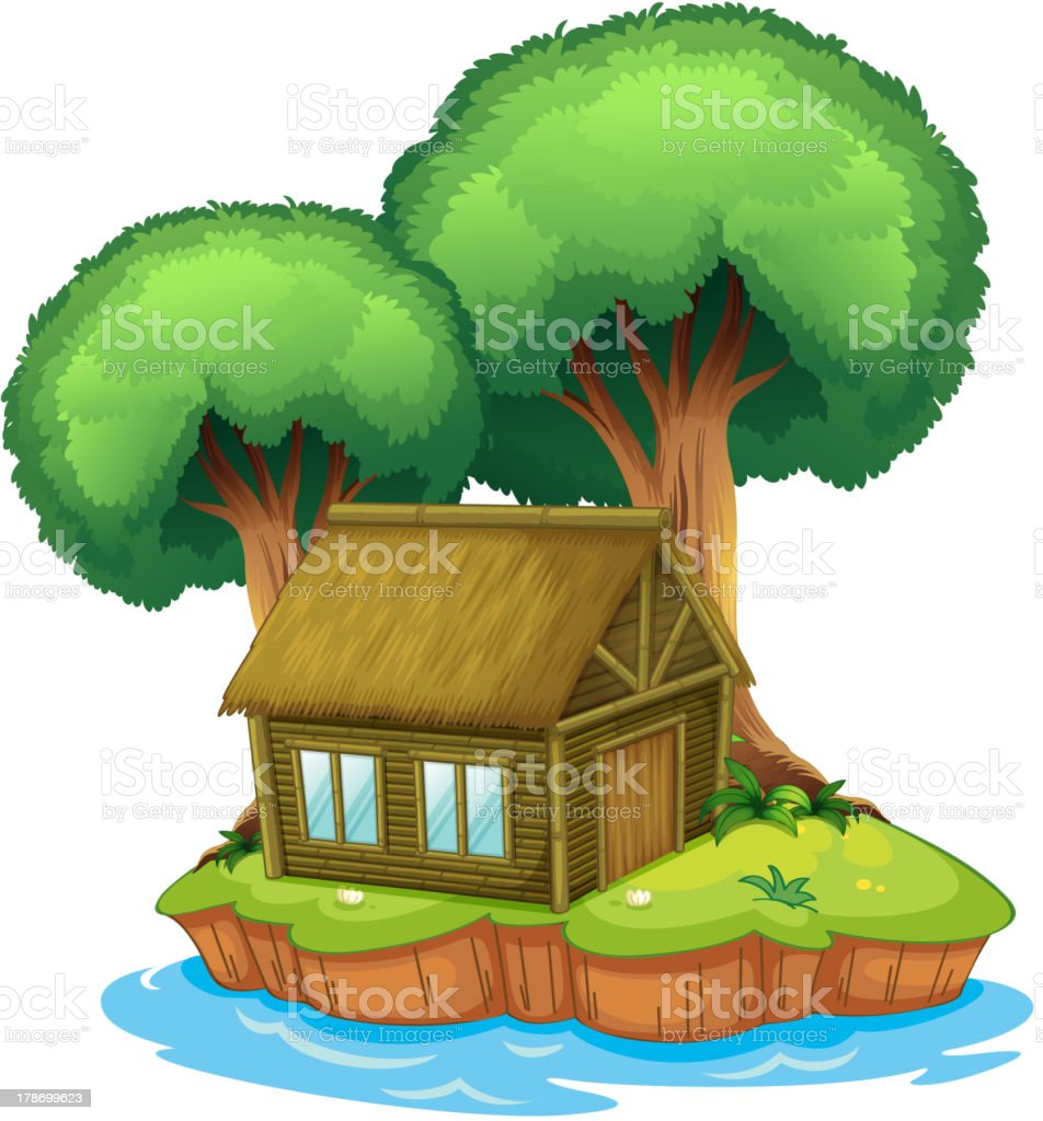 House and tree on an island royalty-free stock vector art