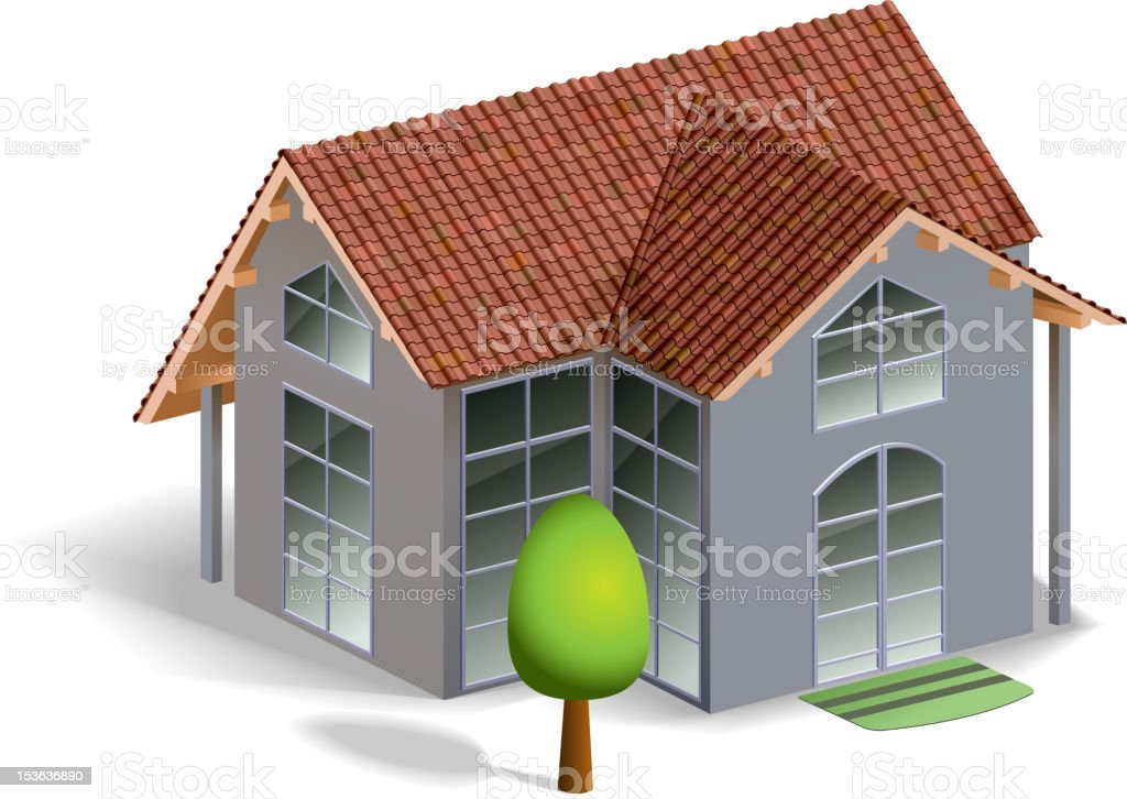House and tree royalty-free stock vector art