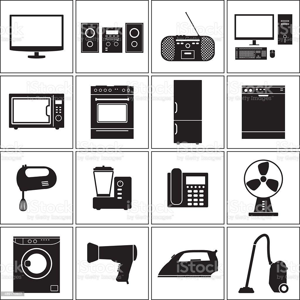 House Appliance Icons Set vector art illustration
