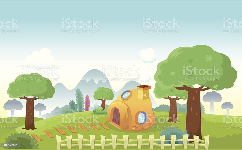 House at the hill - Vector Illustration royalty-free stock vector art