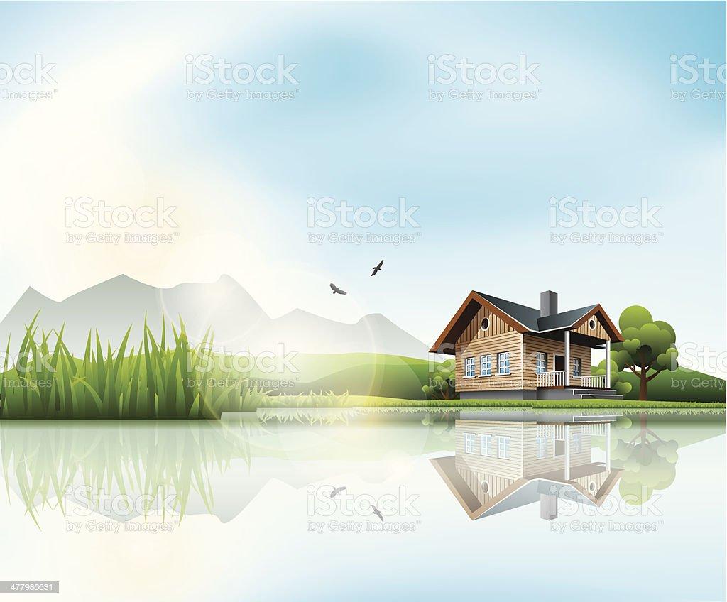 House at the lake vector art illustration