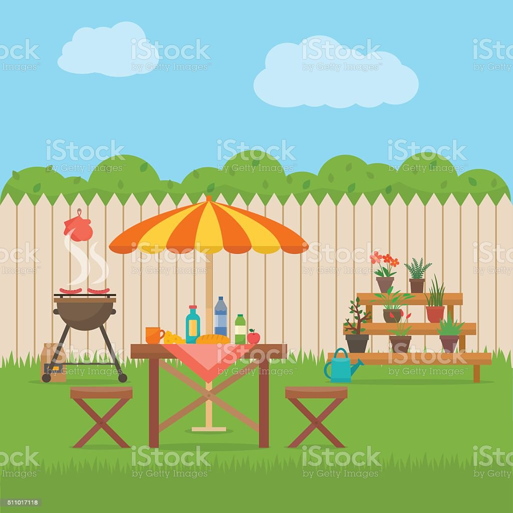 House backyard with grill. vector art illustration