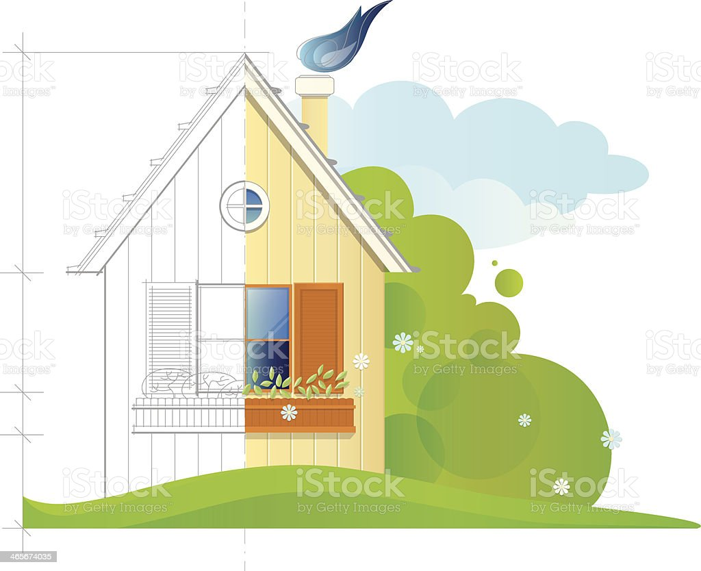 House before and after constructing royalty-free stock vector art