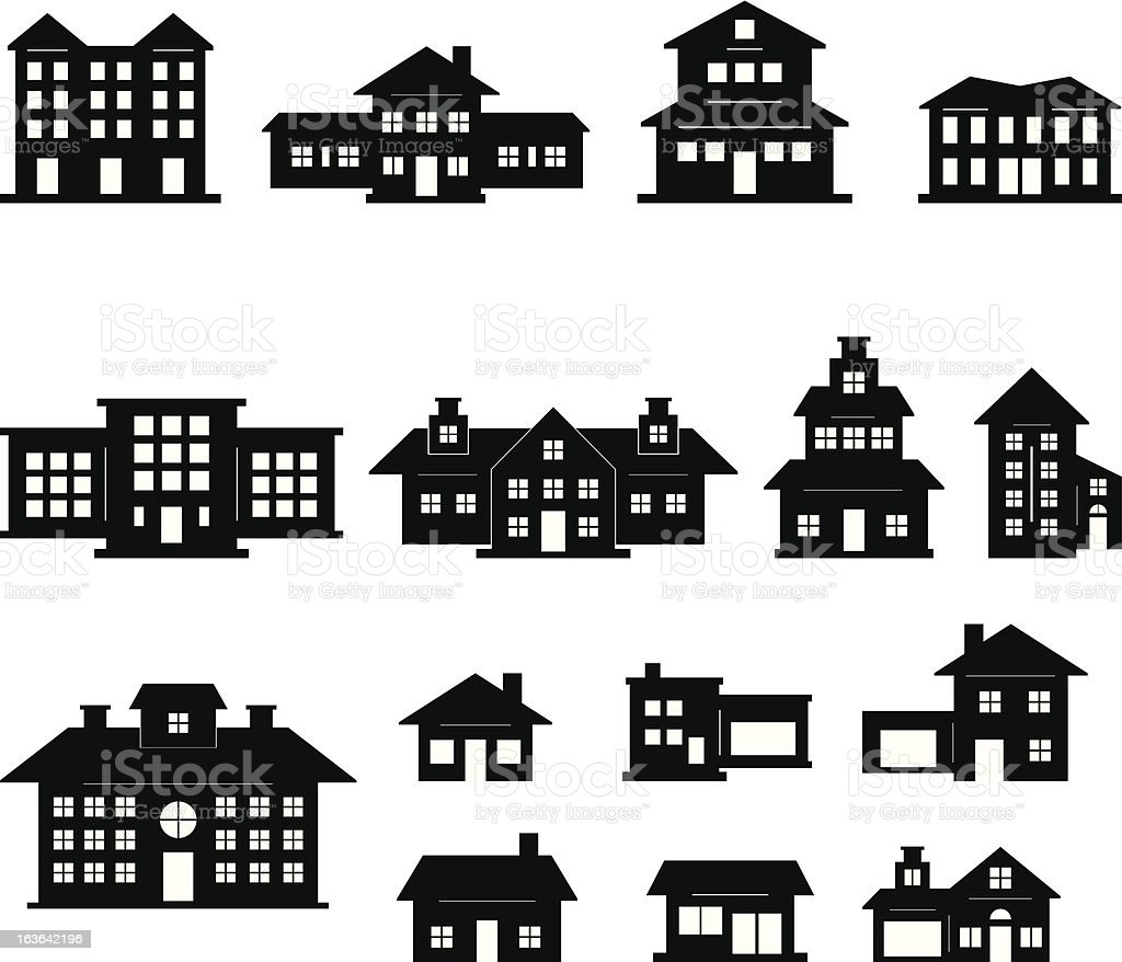 House Black and White set 2 royalty-free stock vector art