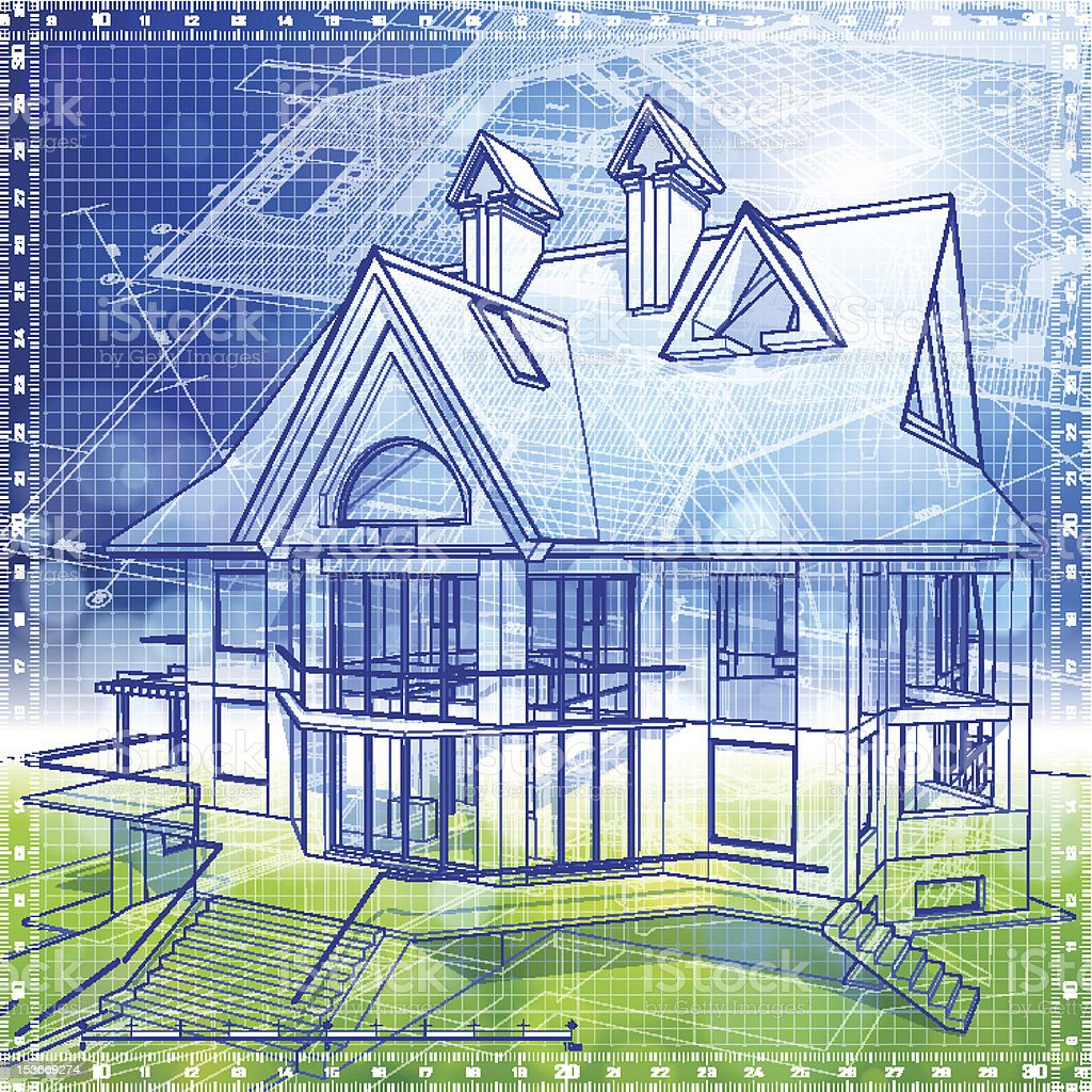 house & blue-green background royalty-free stock vector art
