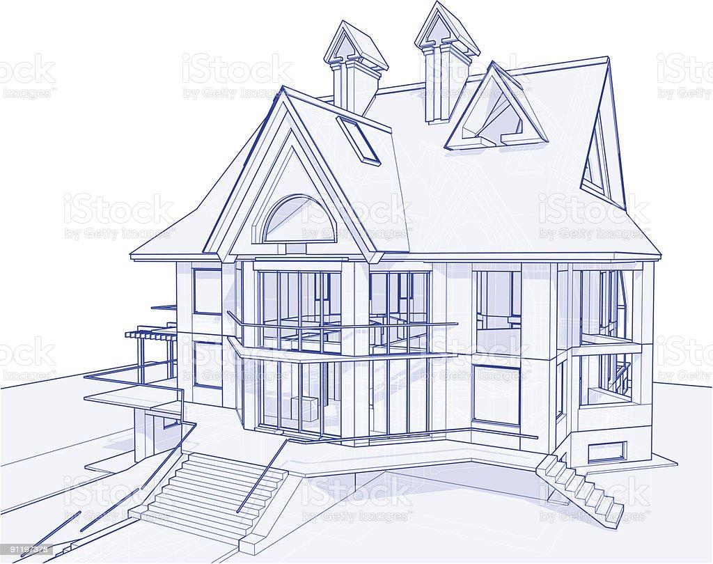 house blueprint 3d technical concept draw stock vector art