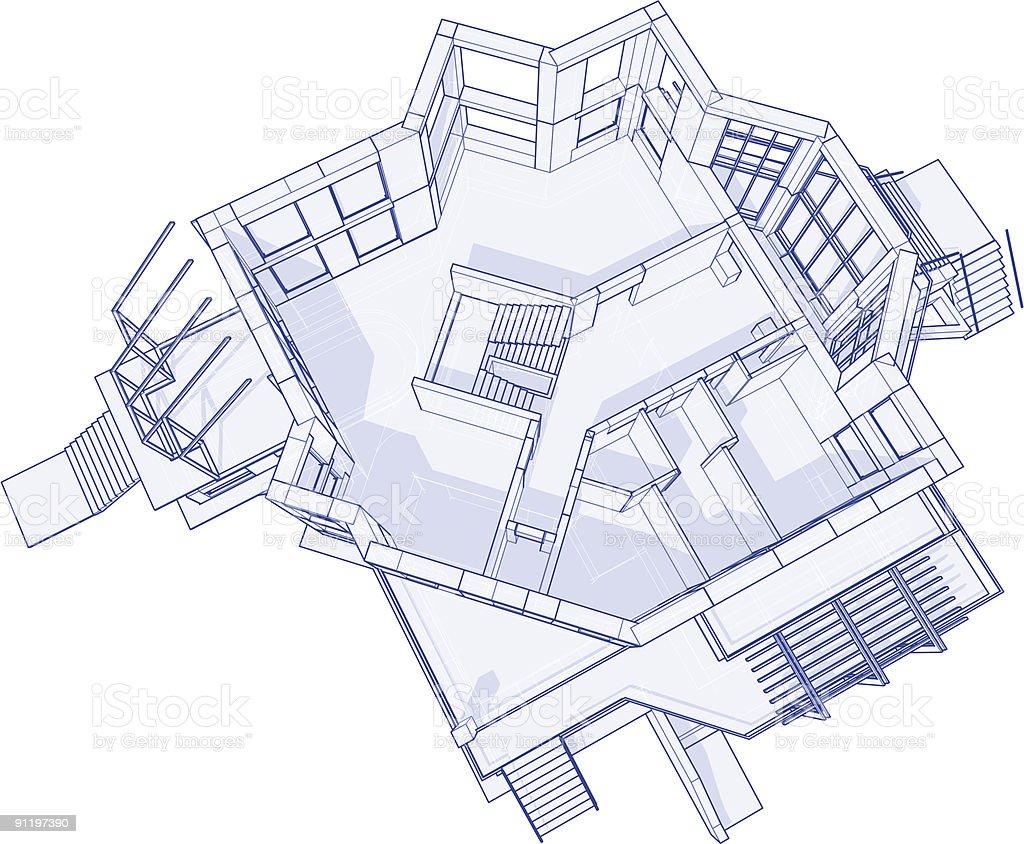 Architecture Blueprints 3d 3d blueprint. amazing house blueprint d technical concept draw