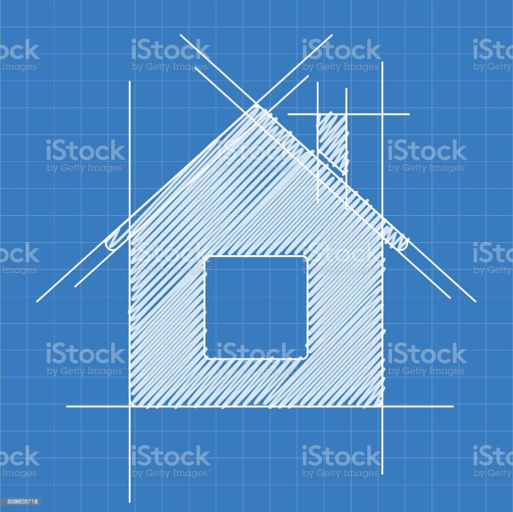 House blueprint logo vector art illustration