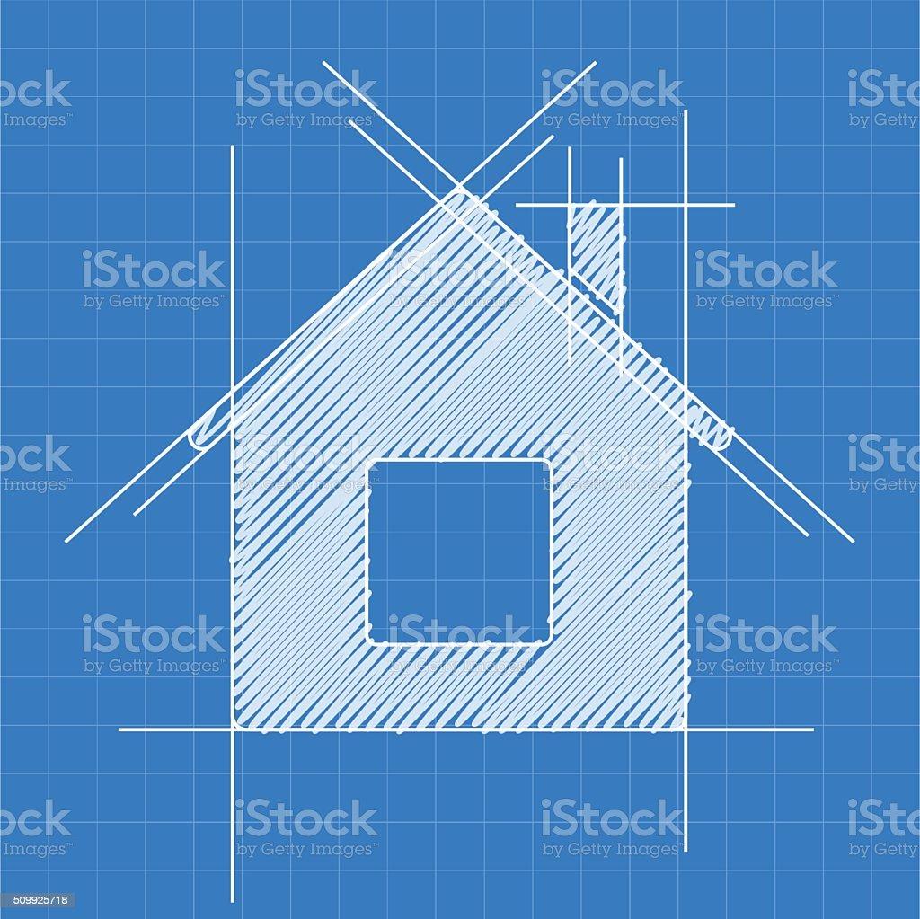 House blueprint logo vector art illustration