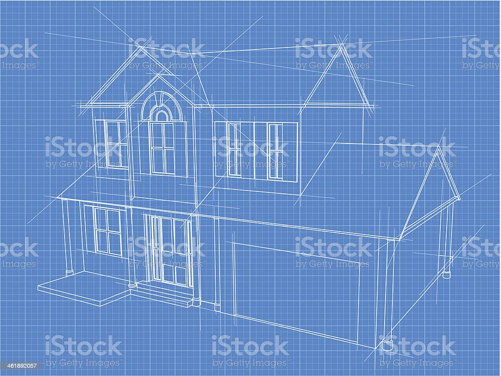 House blueprint vector art illustration