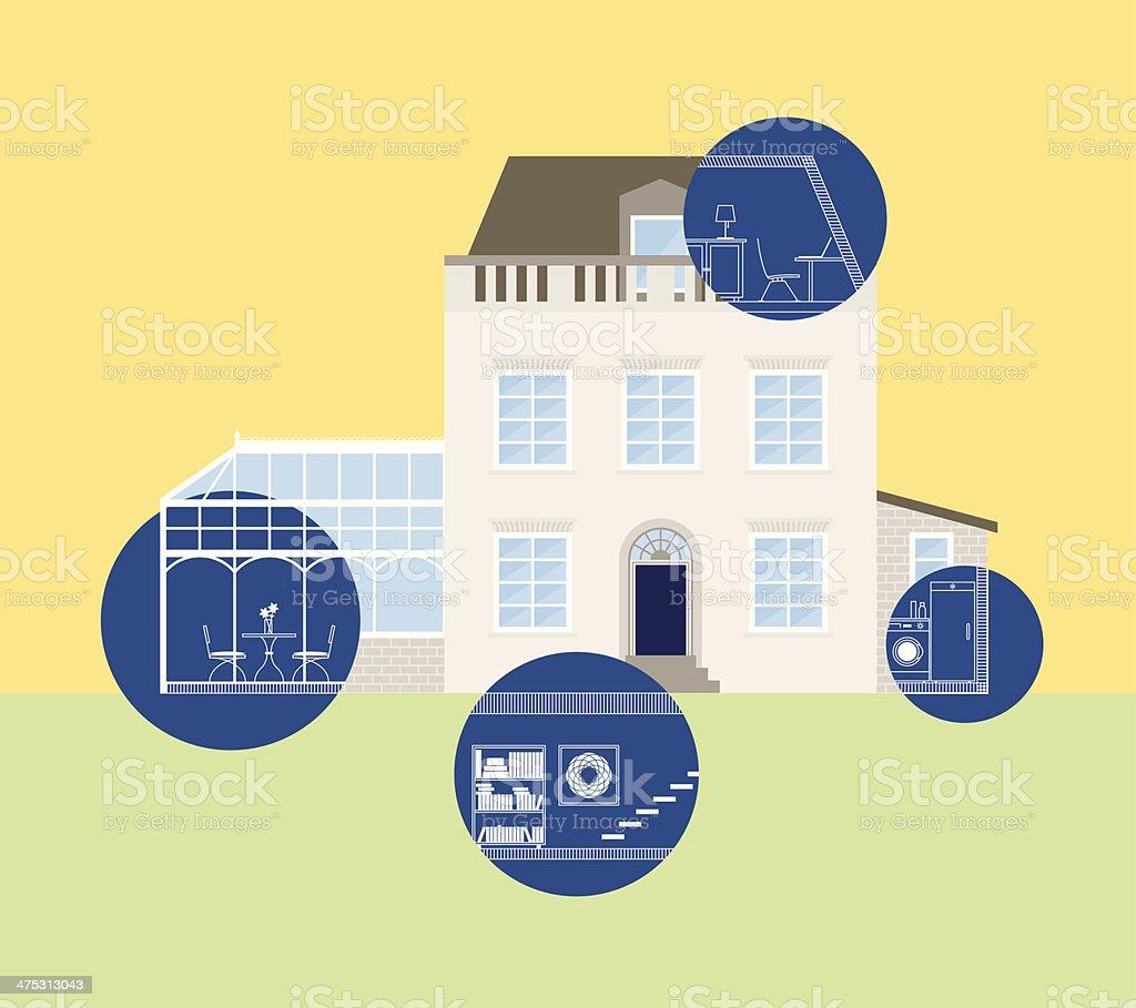House blueprints, home planning, extension vector art illustration