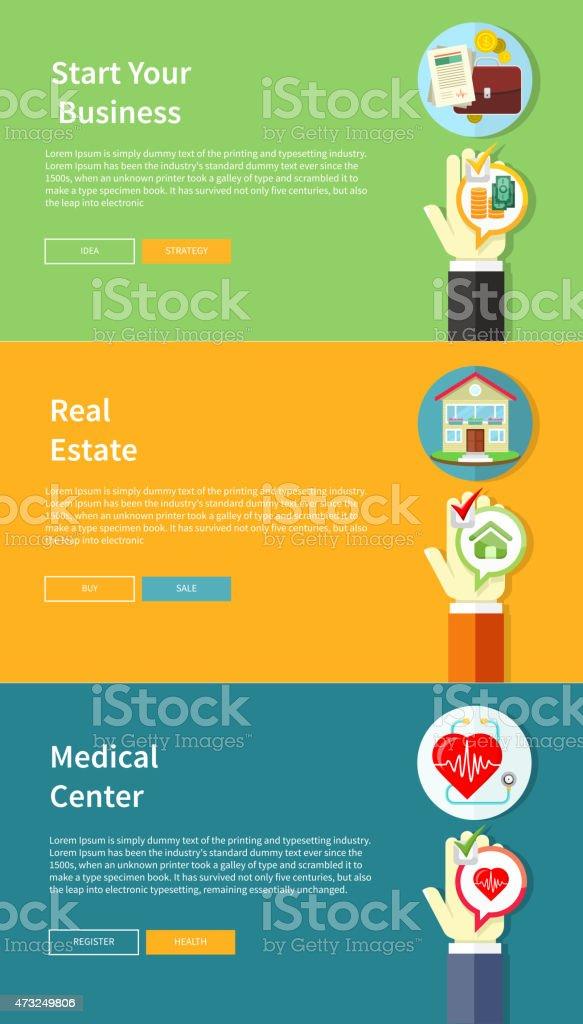 House, business, medical, health insurance vector art illustration