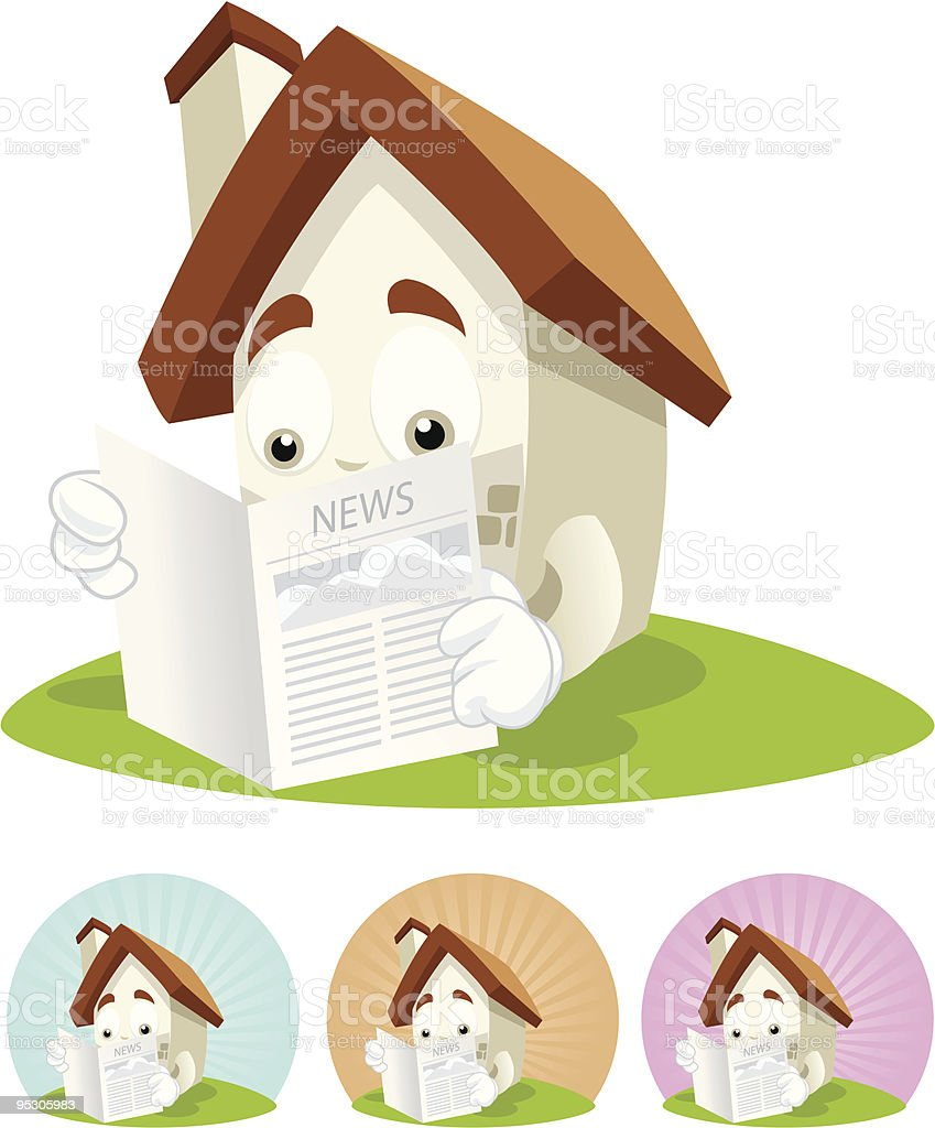 House Cartoon Mascot -Newspaper royalty-free stock vector art