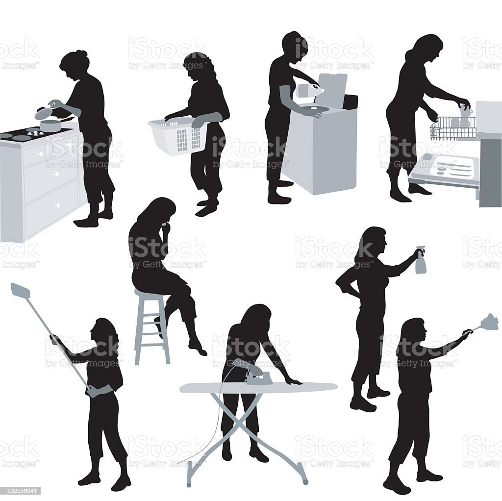 House Chores vector art illustration
