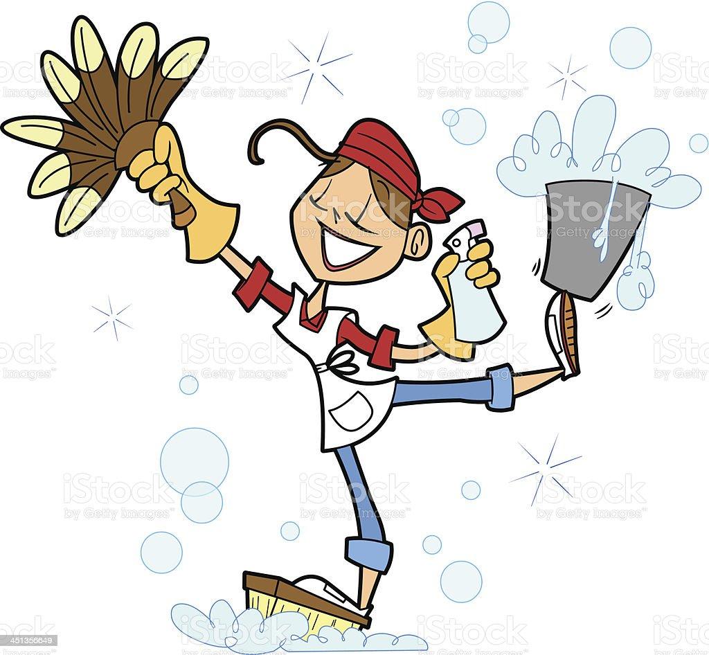 House Cleaner vector art illustration