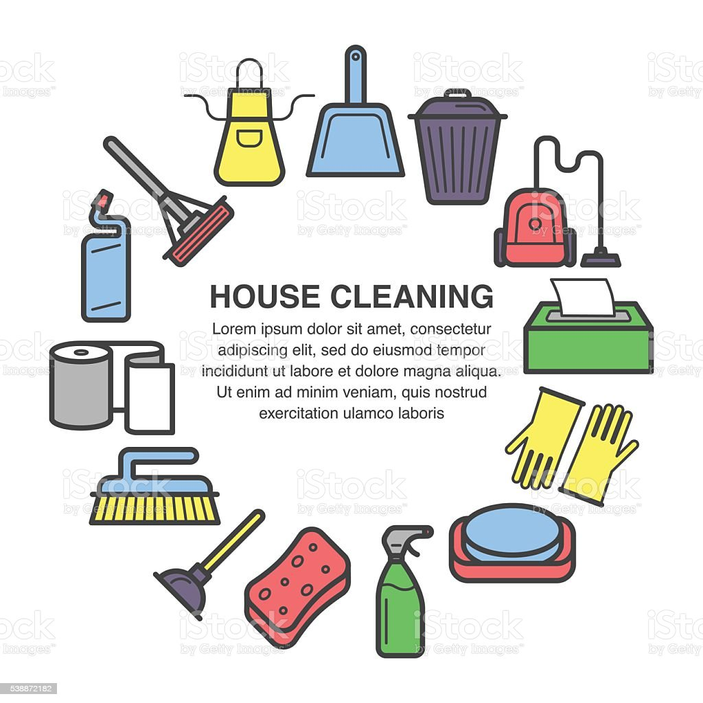 house cleaning circle composition made in flat style stock vector 1 credit