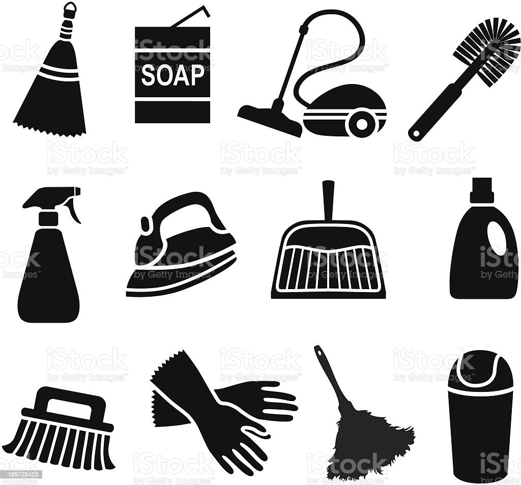 house cleaning icons vector art illustration