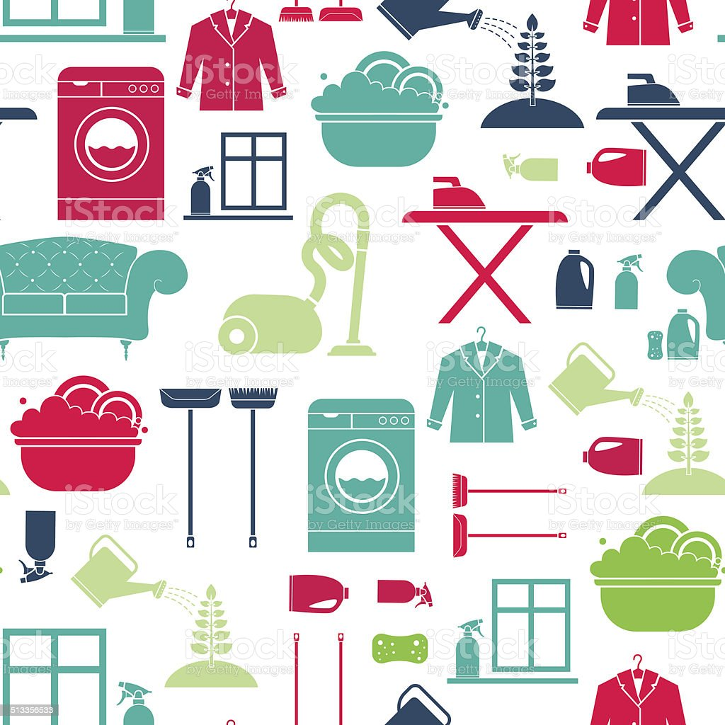 House Cleaning Seamless vector art illustration
