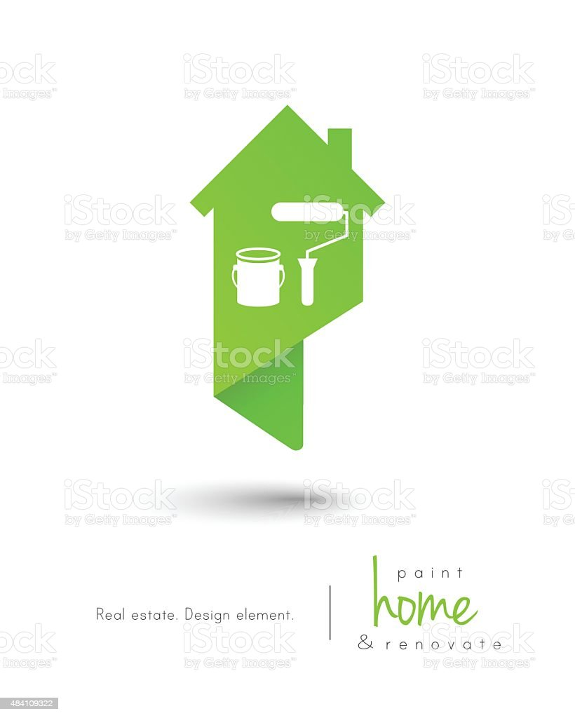House concept with painting tools vector art illustration