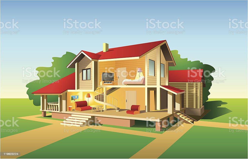 House cut view vector art illustration