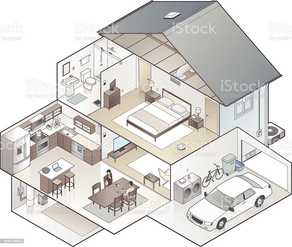 House Cutaway Illustration vector art illustration